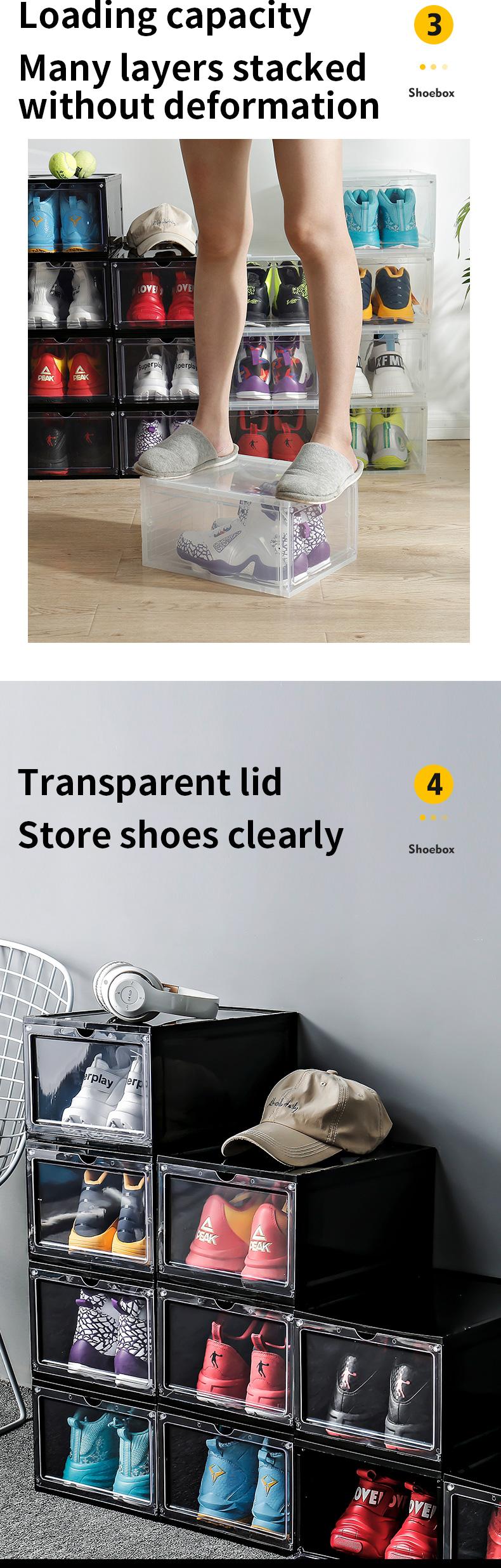 Di stoccaggio di Plastica Trasparente Impilabile Scatola di Scarpe A Casa di Caso Della Goccia Anteriore Scatola di Immagazzinaggio del Pattino