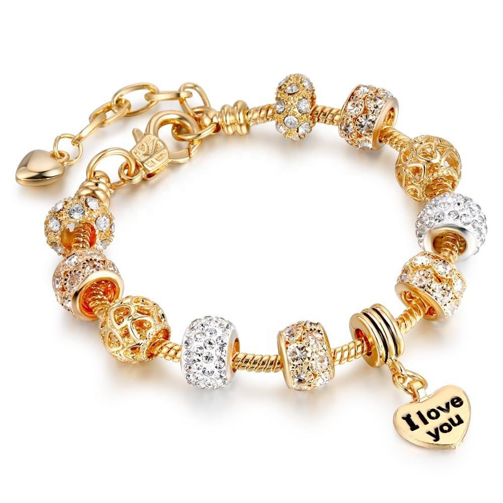 Fait main Grande perle en alliage bracelet18k rose or bijoux Bracelets Faits À La Main