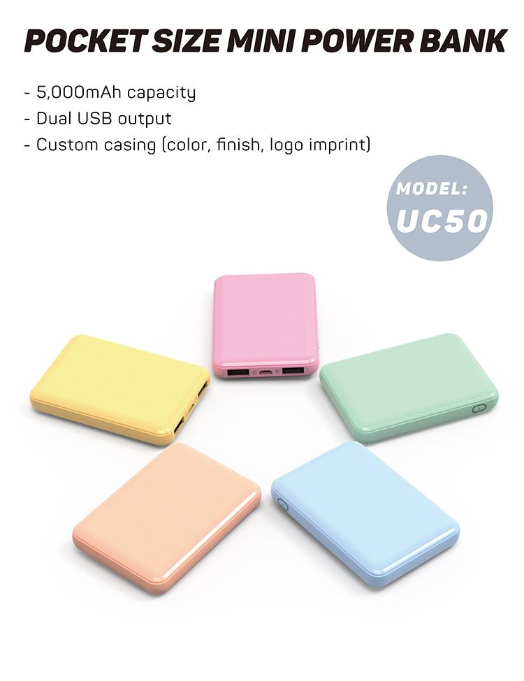 Super Flat Portable Slim Pocket Small 5000 mAh Phone Battery Charger Mini Power Bank 5000mAh