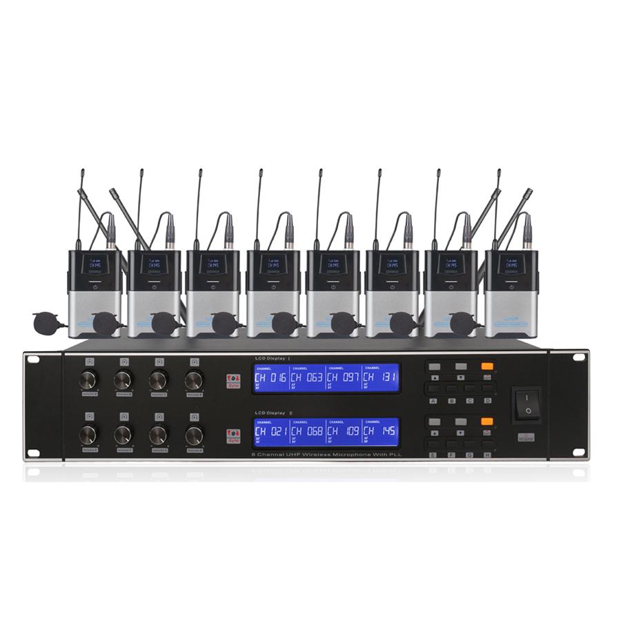 8 Channel MIC Genggam Nirkabel Table Sistem Mikrofon
