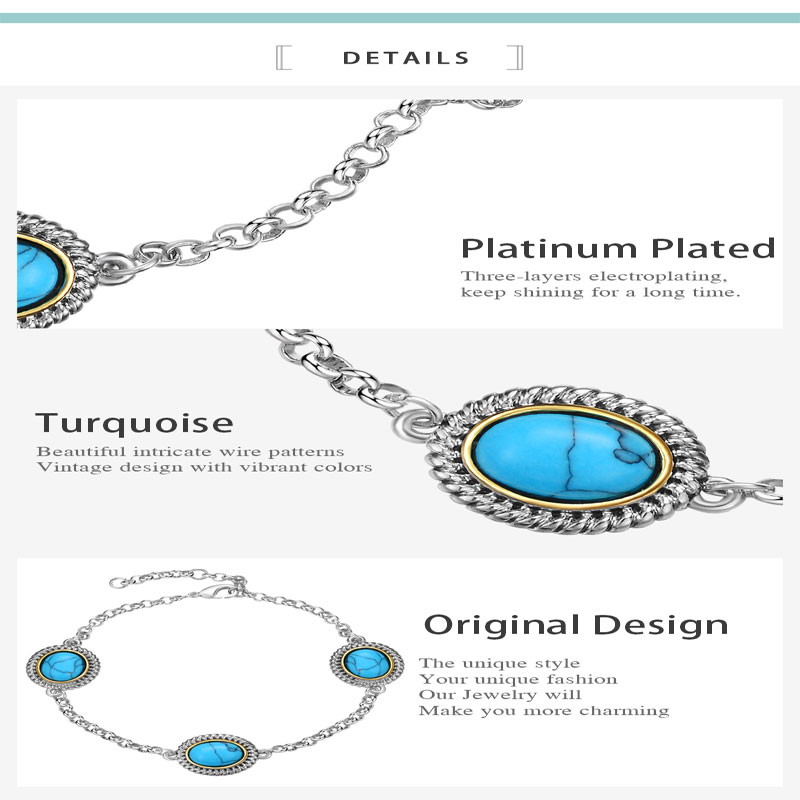 Mytys Daily Life Ladies Accessories Jewelry Rhodium Plating Chain Bracelet with Blue Stone B1158
