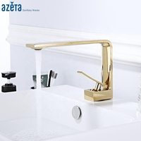 New Design Modern Bathroom Faucet Gold Brass Wash Basin Mixer Water Sink Taps