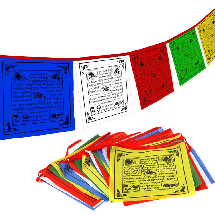 Vendas Direto Da Fábrica personalizado 10*10 Polegadas Windhorse Lungta Tranquilo Bandeira Da Oração Budista Tibetano