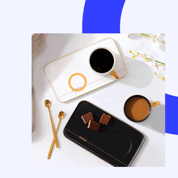Wedding gift custom logo golden handle porcelain coffee tea cup with biscuit holder