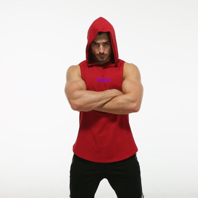 Muscle men sports fitness hoodies custom polyester cotton sleeveless plain hoodie