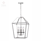 Modern Iron Square Metal Frame Table Centerpiece Small Nickel Hanging Lantern Chandelier