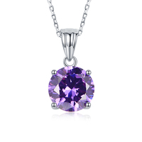 Sterling silver jewelry 925 Simulated Colored Gemstone pendant necklace for woman