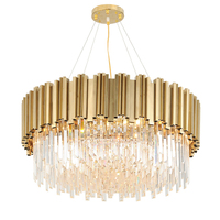 MEEROSEE post model CE approval led chandelier K9 crystal pendant lamp gold luxury lighting MD85599