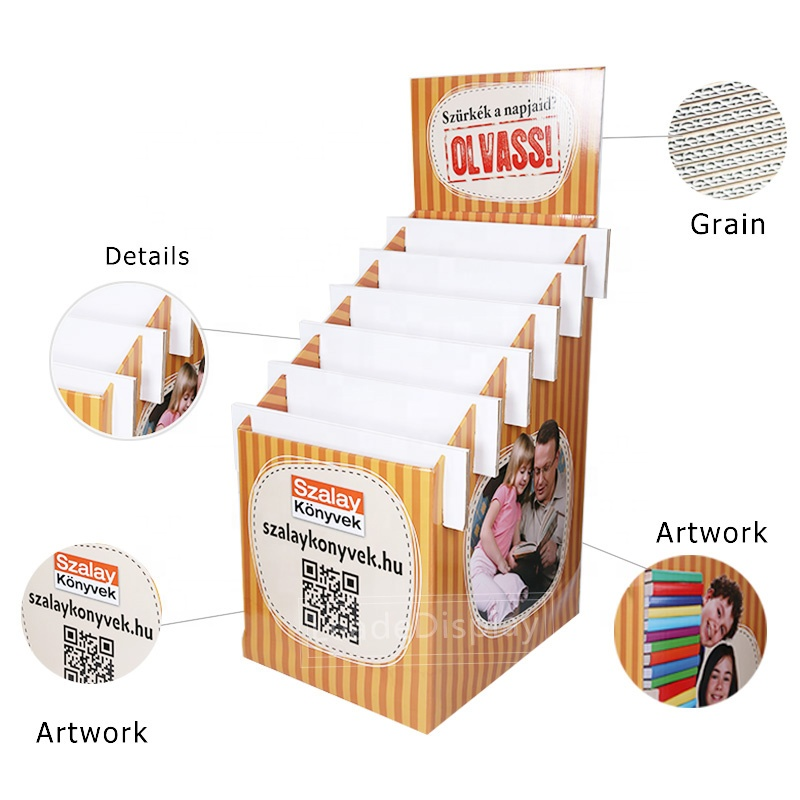 Promotional Supermarket or Bookshop Two Sided Floor Pallet Cardboard Book Display Stands