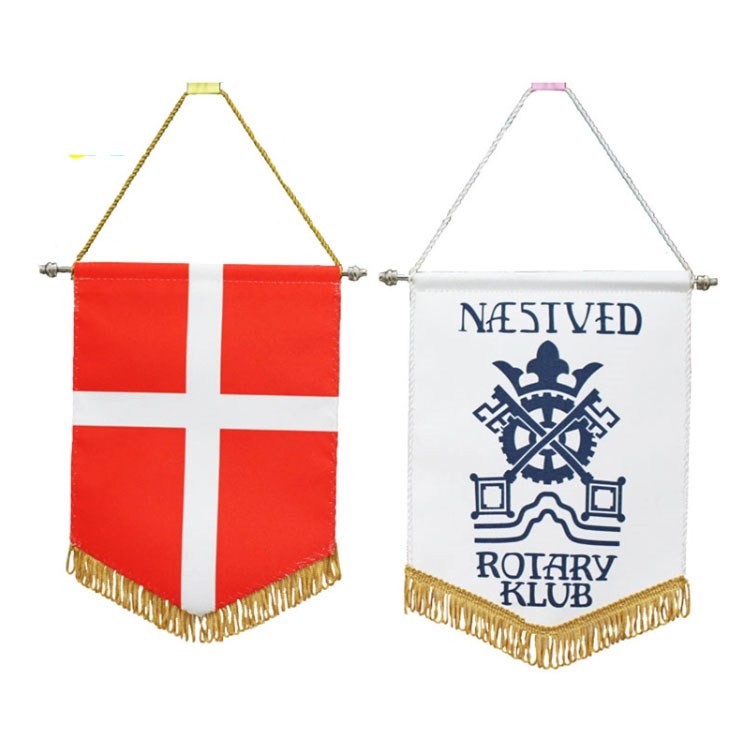 Cheap price decorative digital printing felt country pennant string embroidered flag