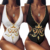 Fashion Digital Printed Sexy V Neck Backless Women Swimsuits for Beach Bikini