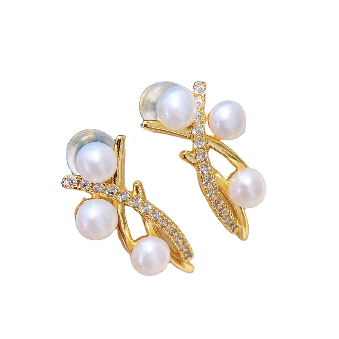 New Arrival Elegant 14K Gold Plated <strong>Pearl</strong> <strong>Stud</strong> <strong>Earrings</strong> Classic Natural <strong>Pearl</strong> <strong>Earrings</strong> Jewelry Gifts
