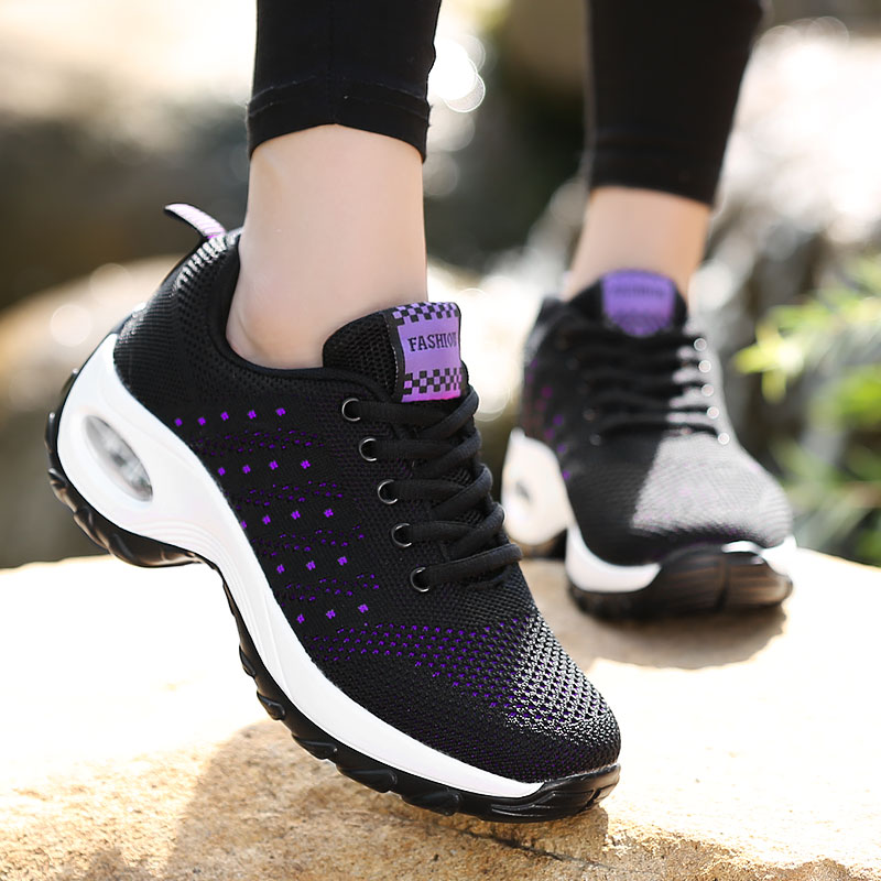 Fashion Women Lightweight Sneakers Air Cushion Lace Up Outdoor Sports Shoes Breathable Mesh Comfort Running Shoes