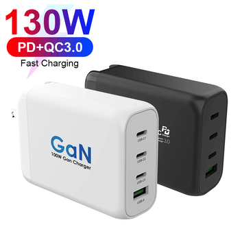 VINA Black White GaN 130W Full-Speed Charging PD+QC Multi Port USB Smart Charger