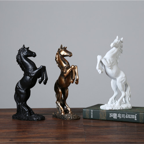 CUSTOMIZED LIFE SIZE <strong>RESIN</strong> ANIMAL JUMPING WHITE BRONZE BLACK HORSE TABLE TOP HOUSE TABLE DECORATION STATUE FIGURINE TOY MODELS