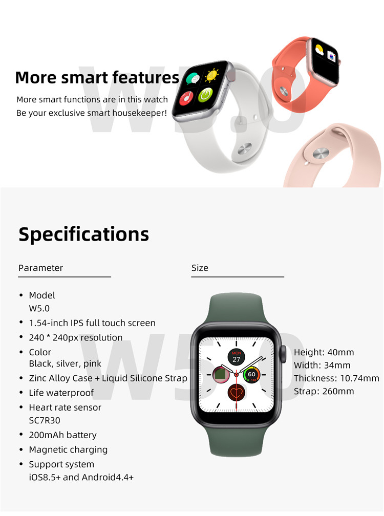 Smart Watch New Model BT Call Bluetooth Heart Rate Relojes Intelligent Touch Screen Smartwatch W5.0