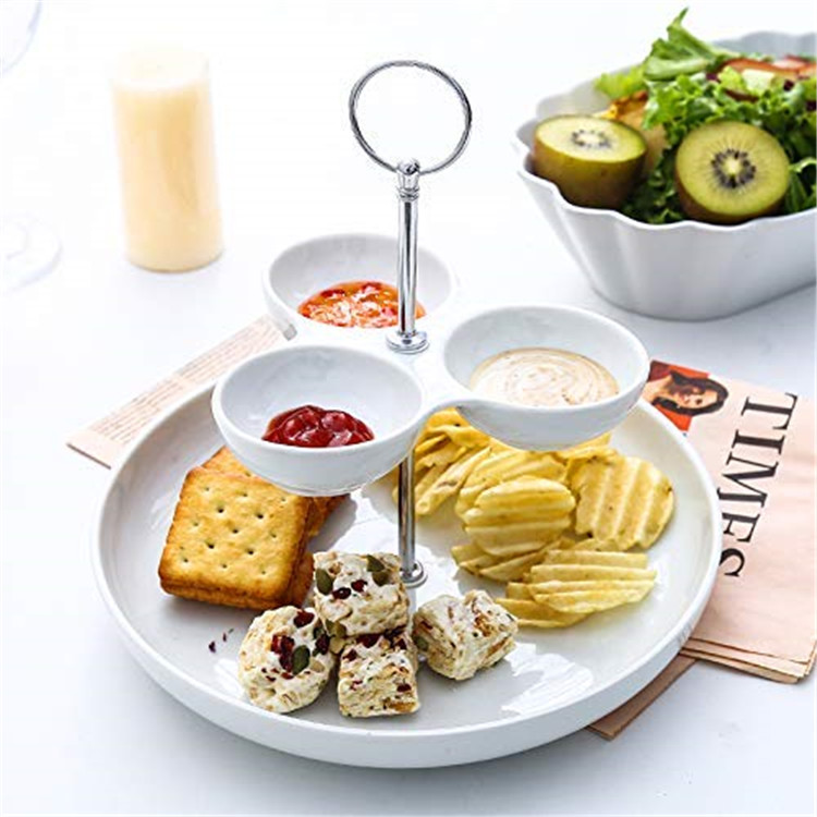 New arrival 2 tier plates  dipping divided dishes cheap bulk porcelain white restaurant plates