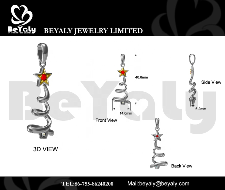product-BEYALY-Top OEM Jewelry Manufacturer Golden Star Red Cz Stretch Design Christmas Tree Pendant