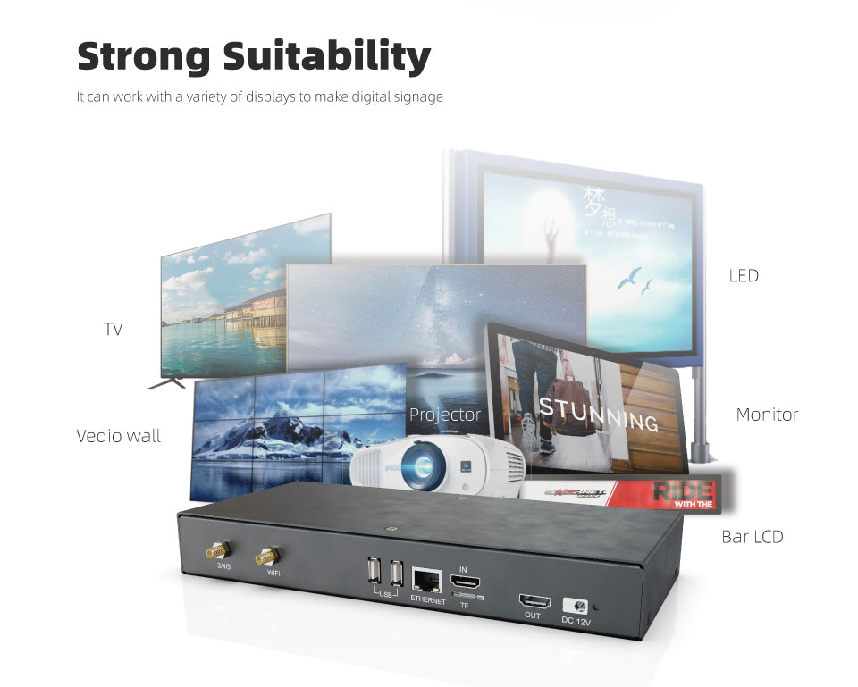 BV-88 Best Advertising Full HD 4K Android Digital Signage Media Player