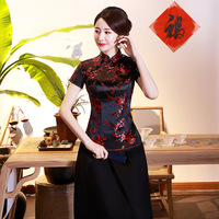 Vintage Flower Women Chinese Traditional Satin Blouse Summer Sexy Shirt Novelty Dragon Clothing Tops Plus Size 3XL 4XL