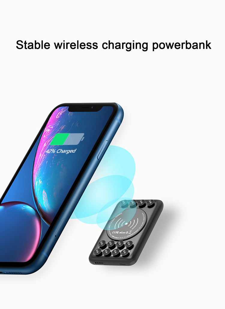 Suction Cup Wireless Charger 5000Mah Fast Charging Slim Power Bank