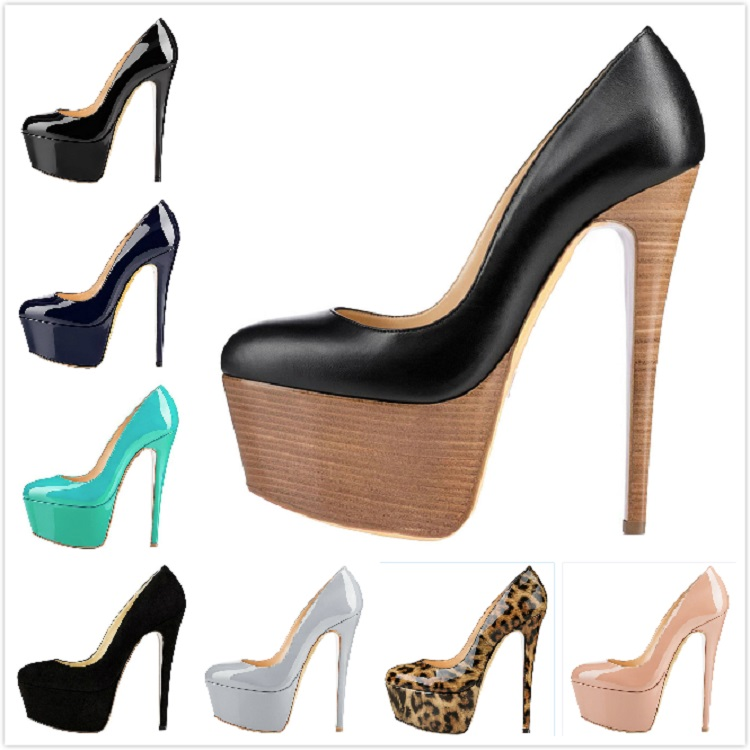 2019 Wholesale brand custom platform high heel pumps pointed women's shoes