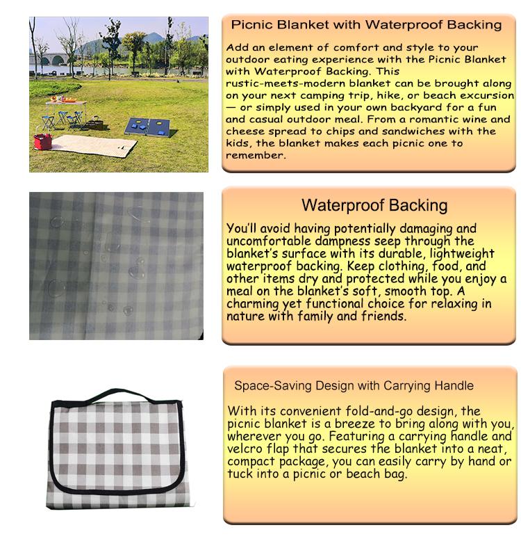 Wholesale Comfortable Lightweight  Waterproof Folding Picnic Blanket Camping Mat