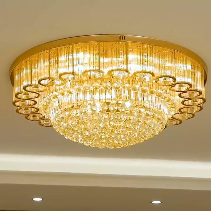 현대 장식물 대형 라운드 플러시 실내 램프 크리스탈 led 천장 조명
