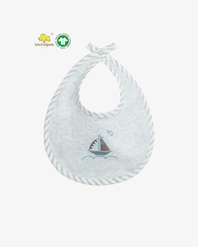 Baby's organic cotton bib with stripe binding and Blara's sail boat embroidery design located at the center.