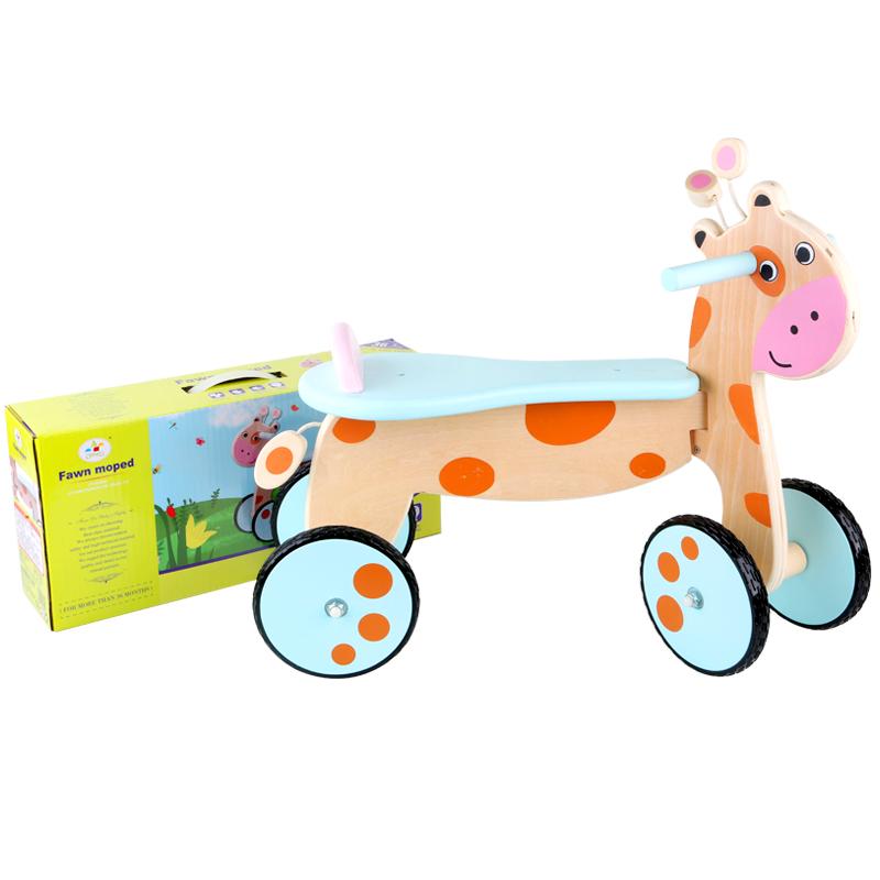 Pendidikan Anak-anak Kayu Naik Walker Balita Rusa Hewan Sepeda Mainan Anak Mobil