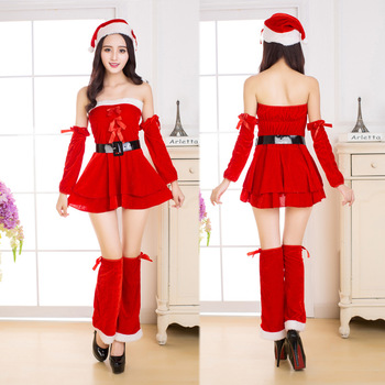 Ecoparty Sexy Deluxe Miss Santa Christmas Party Fancy Dress long Xmas Mrs Claus Costume