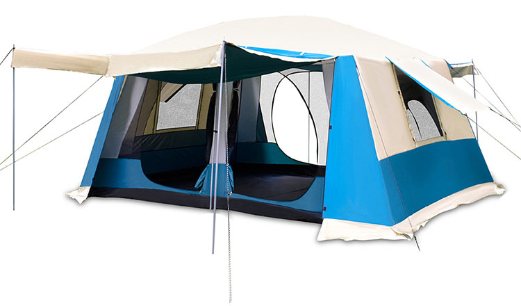 Large Sunroof Camping Outdoor Luxury 6 Person Family Tunnel Group Tent with Removable Front Wall