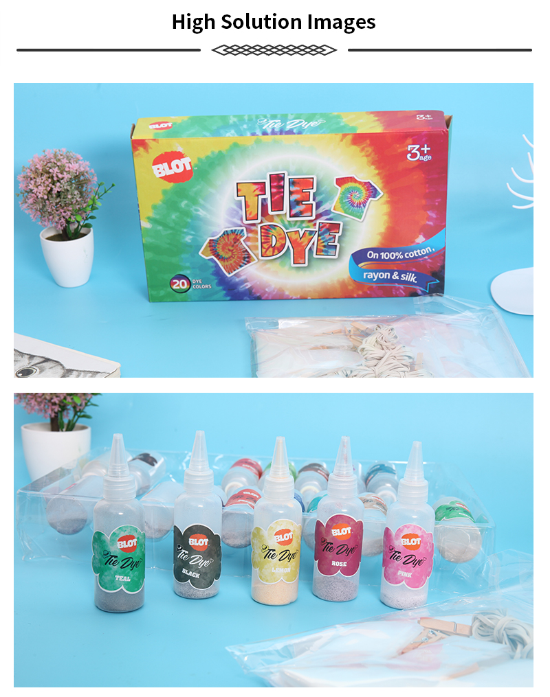 BLOT BRPT800029 DIY Cotton Fabric 20 Colors Pointed Bottle Tie-dye Art Paint Party Kit Tie Dye for Kids,Adults