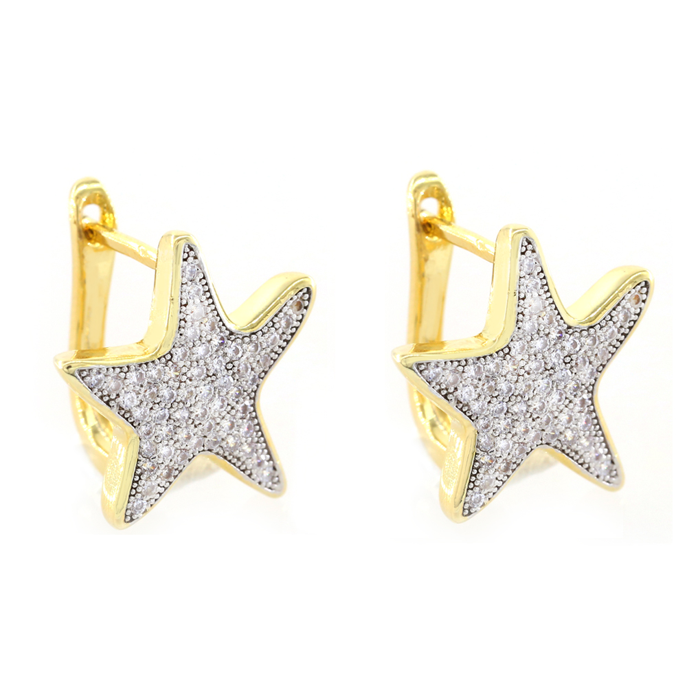 Factory Micro Pave White Zircon Hoop Fancy Jewelry <strong>Gold</strong> Star Starfish Shape <strong>Earrings</strong> Design <strong>Earring</strong> Hoops <strong>Hook</strong>