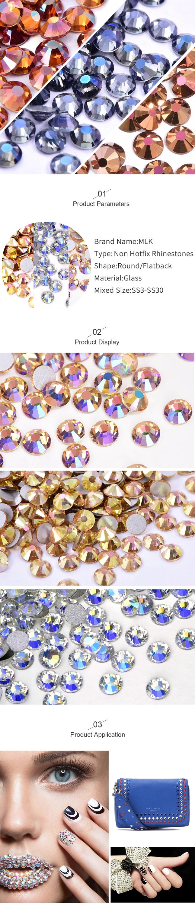 Oleeya New Arrival Ceramic White Crystal Glass Glitter Flatback Rhinestones Flatback Diamond Nail Art Decorations