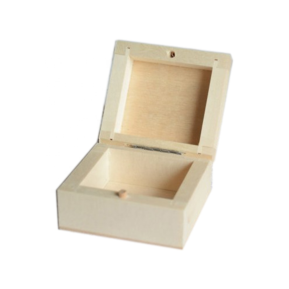 Solid Wooden Craft Box Unfinished Small Business Card Box