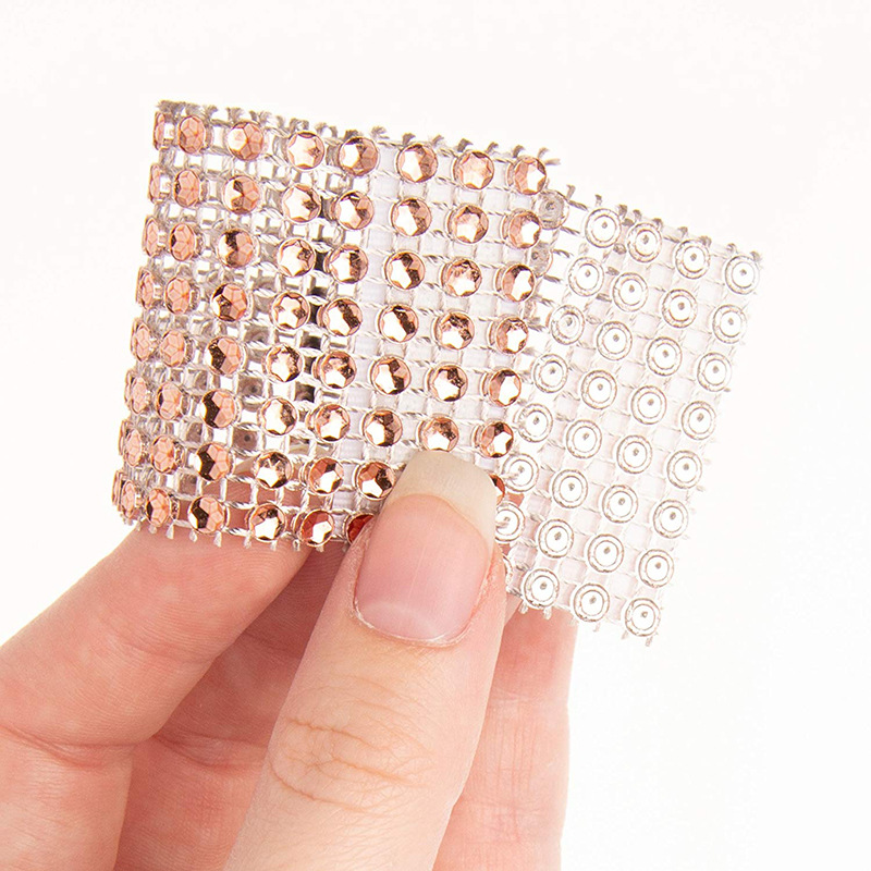 product-Pink And Clear Gemstone Silver Napkin Rings For Weddings-BEYALY-img