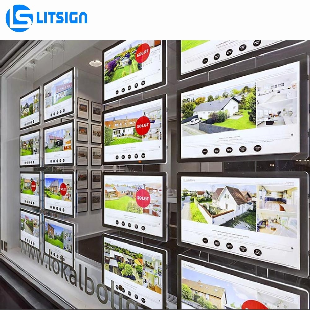 new advertising materials real estate agent led light frame picture hanging track acrylic pocket display