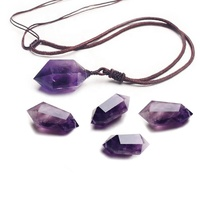 Wollet Men Women Healing Natural Stone Amethyst Necklace