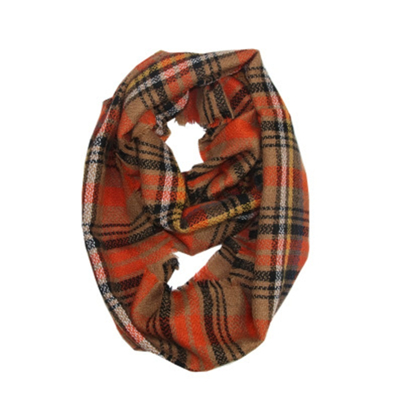 Wholesale Direct Sell Autumn Outdoor Women Colorful Lattice Collar Warm Comfortable Plaid Scarf