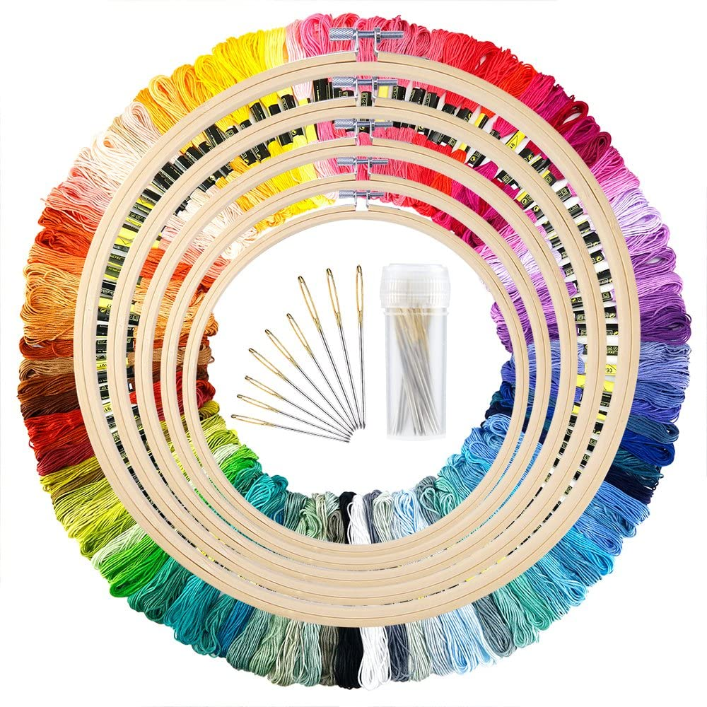 114 PCS DIY Embroidery Floss Cross Stitch Tool Set Embroidery Hoops Bamboo Kits for Beginners