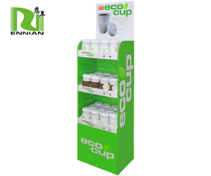 Promotional coffee cup corrugated display stand foor display rack