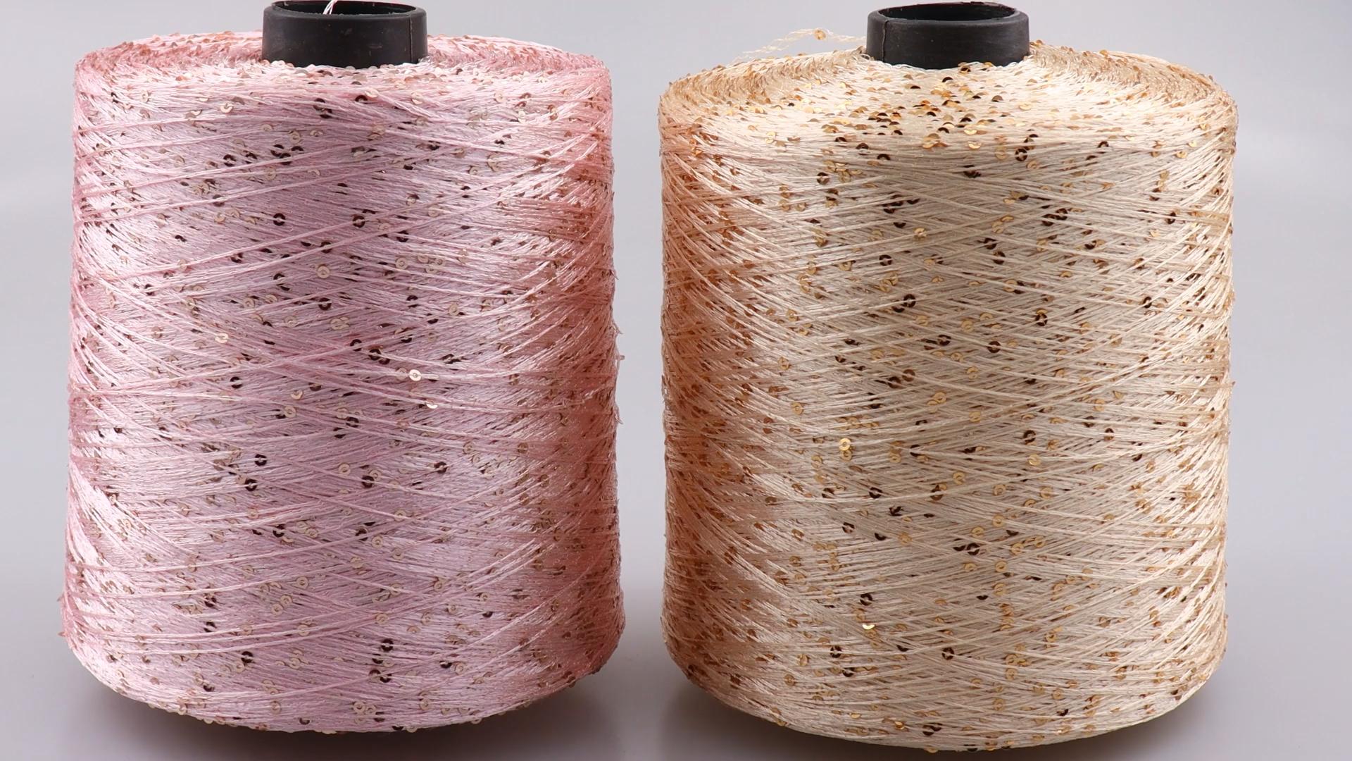 En gros 1KG/Boule 7000M Été glace soie Mercerisé fil spécial Paillettes fil BRICOLAGE tissé à la main poupée de Chiffon laine à tricoter couverture