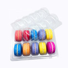 Biodegradable food grade clear Plastic 10 pc clamshell packaging macarons PET blister tray with lid