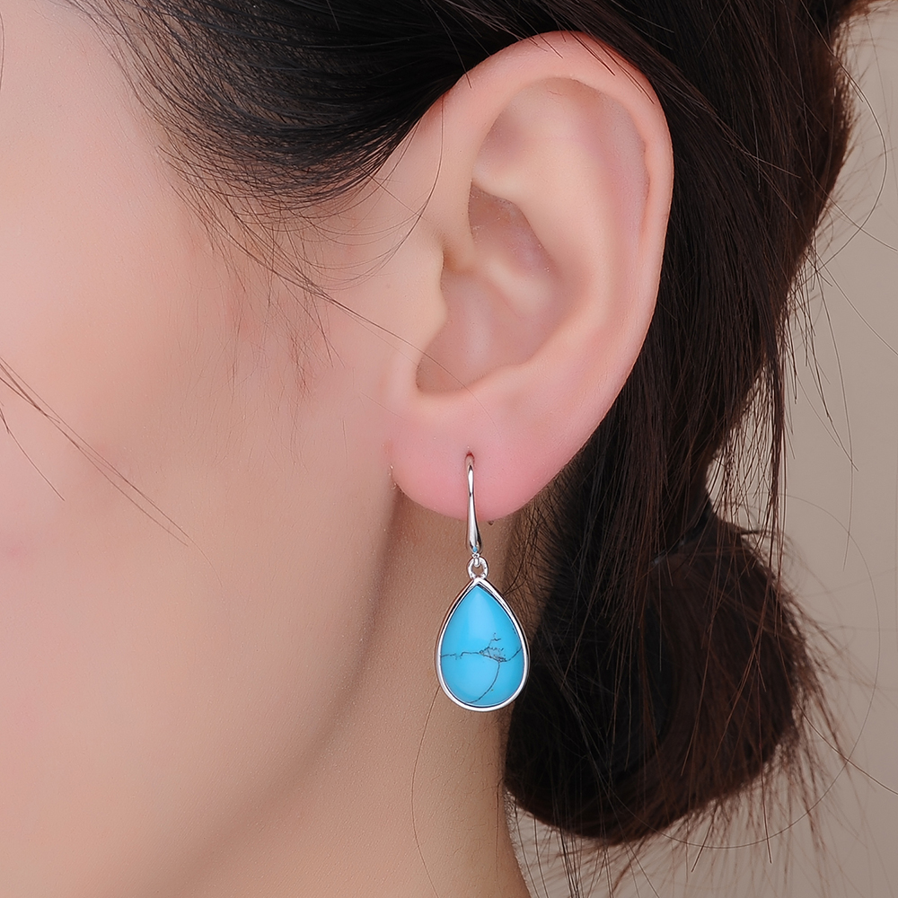Jewelry Stone Women sterling silver turquoise earrings necklace jewellery sets(图2)