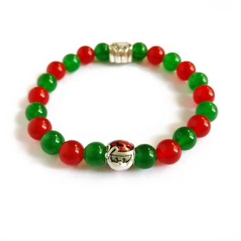 2019 New Design Pet Dog Paw Bracelet Natural Stone Red And Green Jade Santa Claus Christmas Bracelet