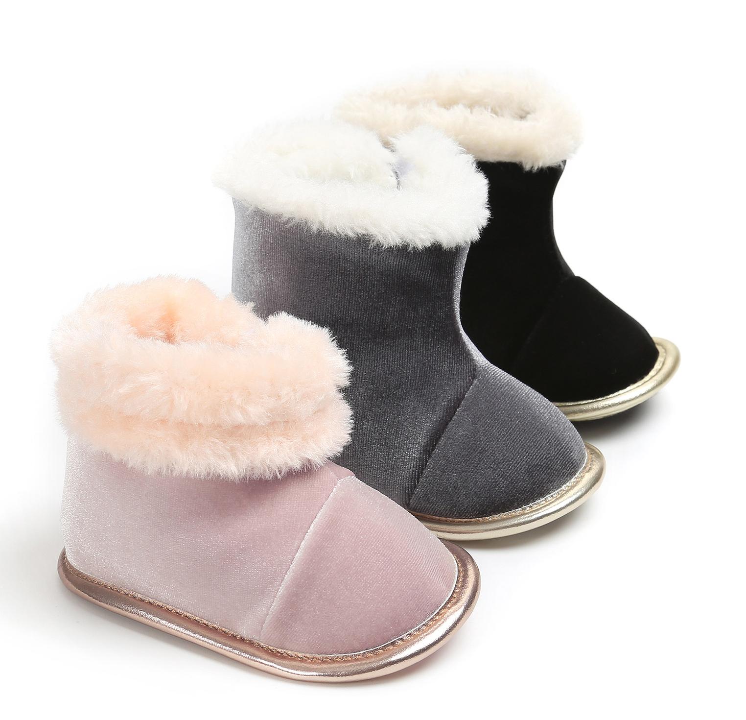 Toptan moda kış flanel üst kürk astar açık sıcak prewalker bebek kız bebek çizmeleri