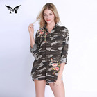Camouflage printed chemise femme casual long sleeve floral cotton shirts blouses new arrival