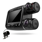 Car dvr 3 cameras lens inside taxi outside recorder infrared wifi backup camera