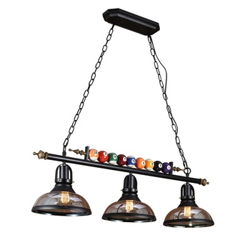 Vintage island hanging glass American style industrial retro loft Billiard chandelier table tennis pendant light for gaming room
